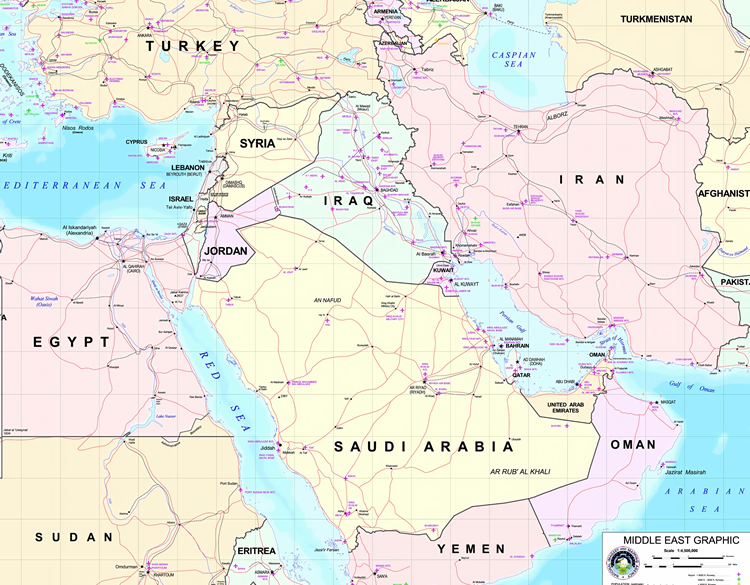 Middle east map north africa and southwest asia